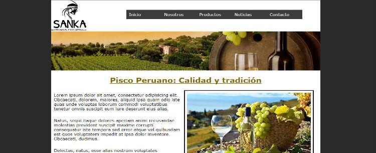 Practica Maquetación Web: Pisco Peruano