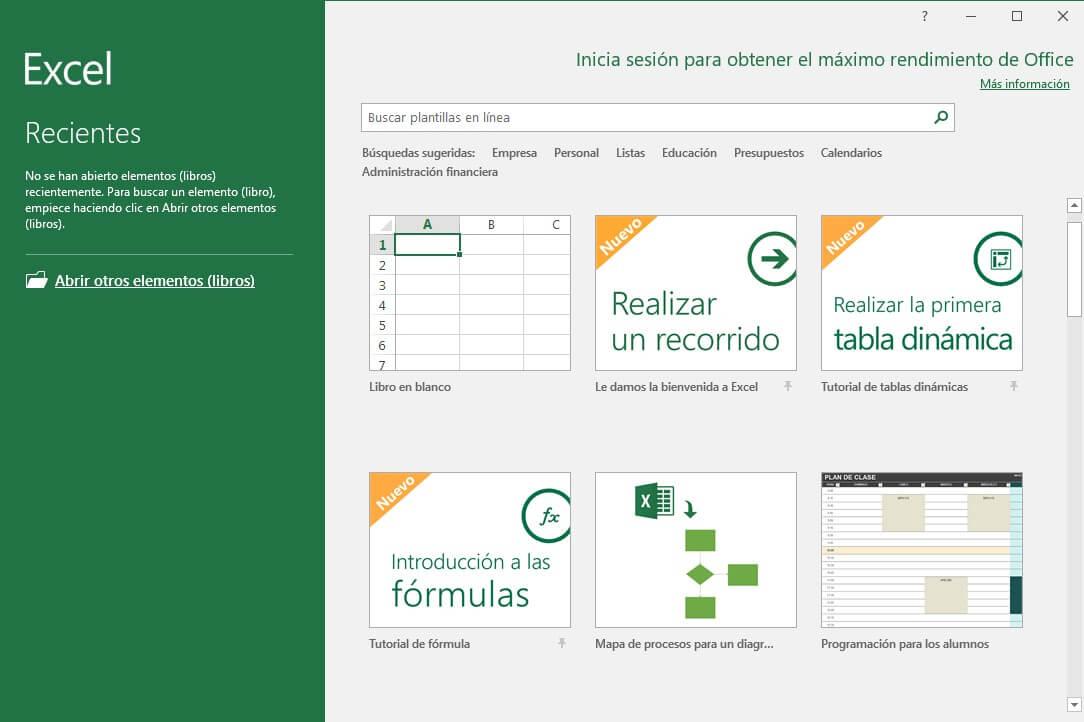 Ventana Inicio Excel
